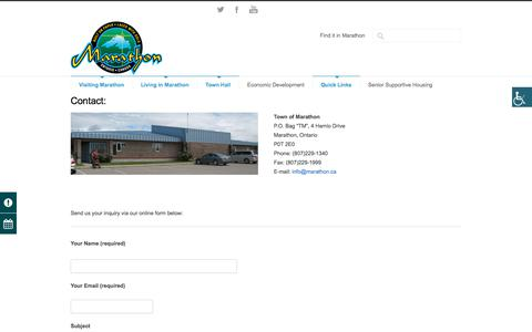 Screenshot of Contact Page marathon.ca - Town of Marathon Contact Town of Marathon - Town of Marathon - captured Sept. 3, 2017