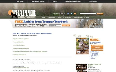 Screenshot of Support Page trapperpredatorcaller.com - My Subscriptions with Trapper & Predator Caller | Trapper Predator Caller - captured May 13, 2016