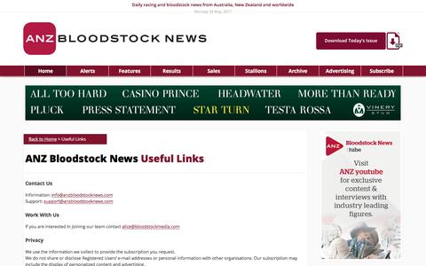 Screenshot of Privacy Page Contact Page Terms Page anzbloodstocknews.com - Useful Links – ANZ Bloodstock News - captured May 28, 2017