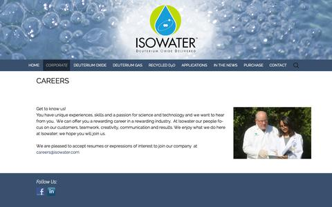 Screenshot of Jobs Page isowater.com - CAREERS | Deuterium-based Products from Isowater - captured Oct. 6, 2014