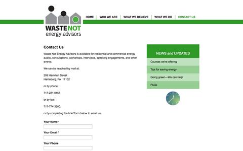 Screenshot of Contact Page wastenotenergyadvisors.com - Contact Us - captured Oct. 7, 2014