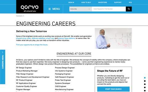 Screenshot of Jobs Page qorvo.com - Engineering Careers - Qorvo - captured Jan. 29, 2019