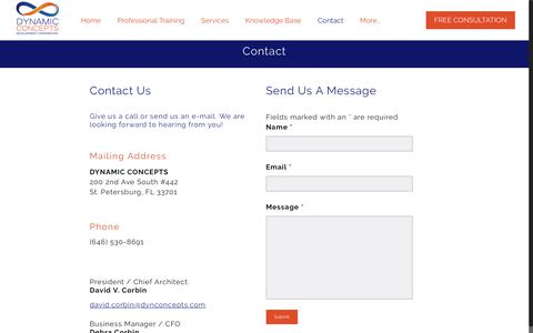Screenshot of Contact Page dynconcepts.com - Contact - Dynamic Concepts Development Corporation - captured Oct. 13, 2017