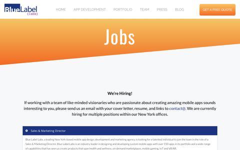 Jobs - BlueLabelLabs