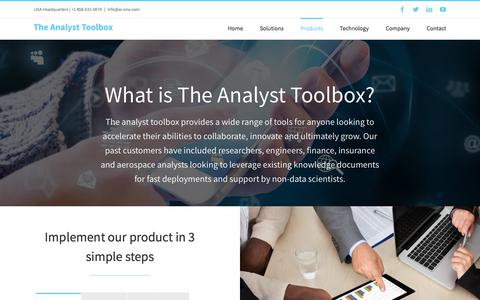 Screenshot of Products Page analyst-toolbox.com - The Analyst-Toolbox is a biologically-inspired intelligence analytics tool, powered by ai-one™ | The Analyst Toolbox - captured Feb. 9, 2018