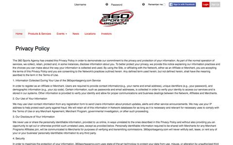 Screenshot of Privacy Page 360sportsagency.com - 360 Sports Agency - captured Aug. 17, 2016