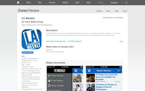 Screenshot of iOS App Page apple.com - LA Weekly on the App Store on iTunes - captured Oct. 28, 2014