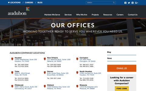 Screenshot of Locations Page auduboncompanies.com - Locations - Audubon Companies - captured Aug. 10, 2018