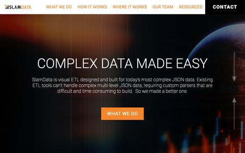 Screenshot of Home Page slamdata.com - SlamData - The MRA Powered ETL Solution Provider - captured Feb. 11, 2019