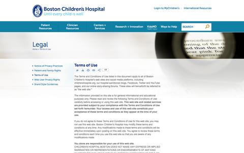 Terms of Use | Boston Children's Hospital