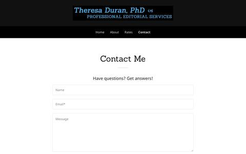 Screenshot of Contact Page duraneditorial.com - Contact Theresa Duran | DuranEditorial.com | Duran Editorial Services - captured Oct. 13, 2017
