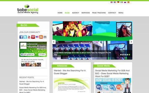 Screenshot of Blog tobesocial.net - tobesocial - Social Media Blog, Facebook Blog, Social Media Marketing Blog - captured May 26, 2016