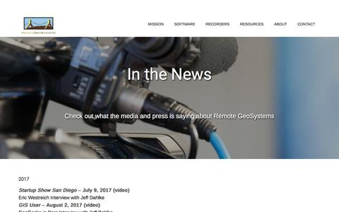 Screenshot of Press Page remotegeo.com - In the News | Remote GeoSystems - captured Oct. 21, 2017