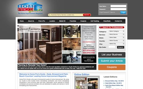 Screenshot of Home Page homeprosguide.com - Home Pros Guide | Home Improvement Magazine & Advertising - captured Sept. 30, 2014