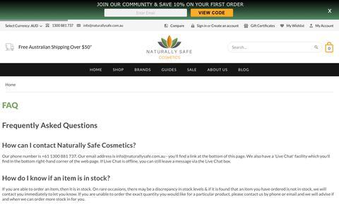 Screenshot of FAQ Page naturallysafe.com.au - FAQ | Naturally Safe Cosmetics - captured May 16, 2019