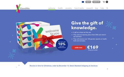 Screenshot of Home Page 23andme.com - 23andMe Europe   - DNA Genetic Testing & Analysis - captured Dec. 4, 2015