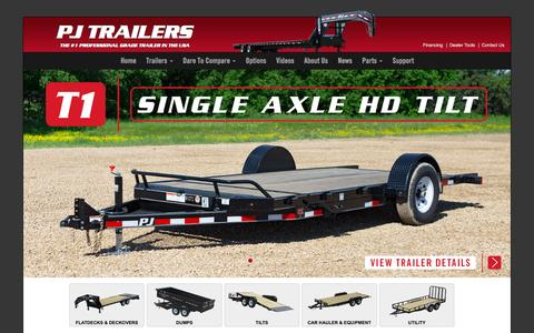 Screenshot of Home Page pjtrailers.com - PJ Trailers Dump, Gooseneck, Tilt, Equipment, ATV, & Utility Trailers - captured Dec. 6, 2015