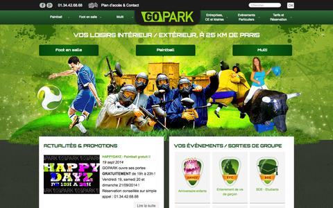 Screenshot of Home Page gopark.fr - Paintball à Paris - Cergy-Pontoise (95) - captured Sept. 27, 2014