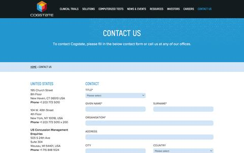Screenshot of Contact Page cogstate.com - Contact Cogstate Ltd - captured July 14, 2016