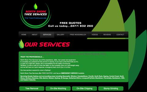 Screenshot of Services Page northshoretreeservices.com - Tree Trimming Sydney | Stump Grinding Sydney | North Ryde | Epping | North Sydney - captured March 2, 2016
