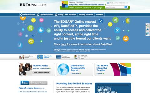 Screenshot of Home Page rrdonnelley.com - Print, Digital and Supply Chain Solutions | RR Donnelley - captured Dec. 26, 2015
