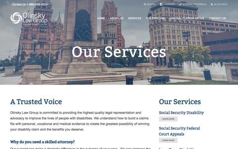 Screenshot of Services Page windisability.com - Olinsky Law Group  » Our Services - captured Nov. 4, 2014