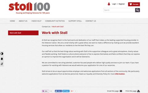 Screenshot of Jobs Page stoll.org.uk - Work with Stoll - captured Aug. 17, 2016