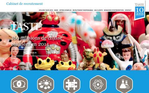 Screenshot of Home Page tasterh.fr - Taste - captured Sept. 1, 2015