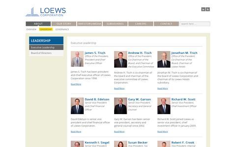 Screenshot of Team Page loews.com - Executive Leadership | Loews Corporation - captured Sept. 23, 2014