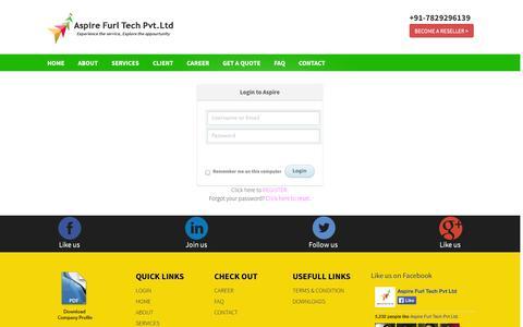 Screenshot of Login Page aspirefurl.com - Aspire Furl Tech Pvt.Ltd | Home - captured Nov. 2, 2014