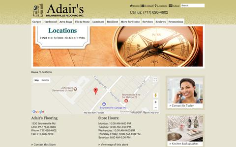 Screenshot of Locations Page adairsflooring.com - Find everything you need at one of our nearby stores. - captured Oct. 7, 2017