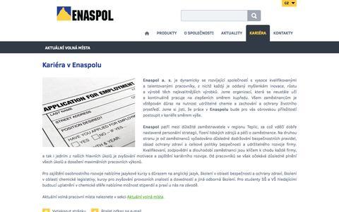 Screenshot of Jobs Page enaspol.cz - Kariéra v Enaspolu - Enaspol a. s. - captured Nov. 8, 2016