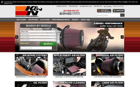 Screenshot of Home Page knfilters.com - K&N Performance Air Filters, Air Intakes & Oil Filters - captured June 20, 2017