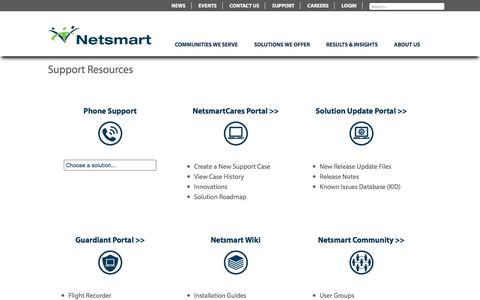 Screenshot of Support Page ntst.com - Contact Netsmart Technologies Support | NTST Practice Management - captured Aug. 28, 2016