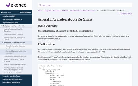 General information about rule format — Akeneo PIM documentation