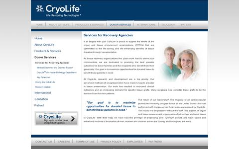 Screenshot of Services Page cryolife.com - CryoLife : Services for Recovery Agencies - captured July 20, 2014