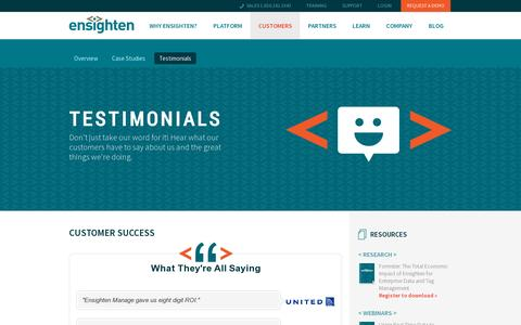 Screenshot of Testimonials Page ensighten.com - Customer Success | Ensighten - captured July 19, 2014
