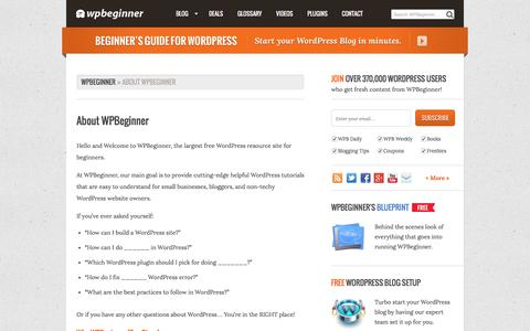 Screenshot of About Page wpbeginner.com - About WPBeginner - captured Aug. 17, 2016