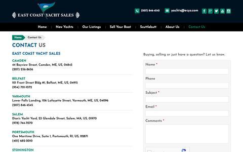 Screenshot of Contact Page ecys.com - Contact Us | East Coast Yacht Sales - captured Dec. 13, 2018