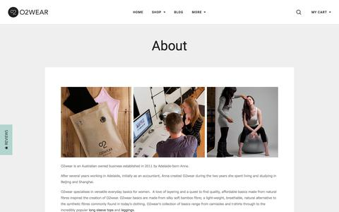 Screenshot of About Page o2wear.com - About Us - Bamboo Clothes - O2wear Australia Online Store - captured June 11, 2017
