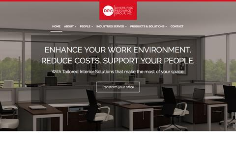 Screenshot of Home Page drgatlanta.com - Office Furniture, Architectural Interior Landscaping, Audio Visual Integration - Norcross, Atlanta, Marietta | Diversified Resource Group, Inc. - captured Feb. 9, 2016