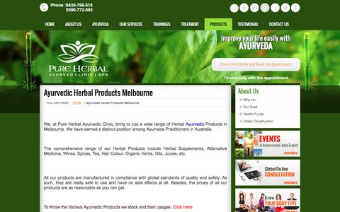 Screenshot of Products Page pureherbalayurved.com.au - Ayurvedic Herbal Products Melbourne | Ayurvedic Medicine Australia | Organic Products - captured Dec. 5, 2016