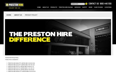 Screenshot of Privacy Page prestonhire.com.au - The Difference - captured June 10, 2016