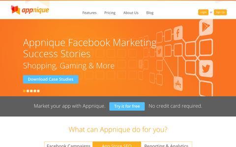 Screenshot of Home Page appnique.com - Appnique - captured Sept. 19, 2014