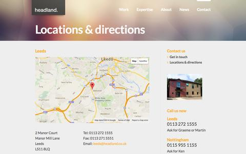 Screenshot of Maps & Directions Page headland.co.uk - Headland | Locations & directions - captured Sept. 23, 2014