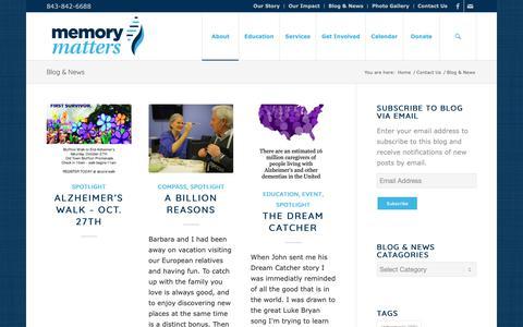 Screenshot of Blog mymemorymatters.org - Blog & News - Memory Matters - captured Oct. 27, 2018