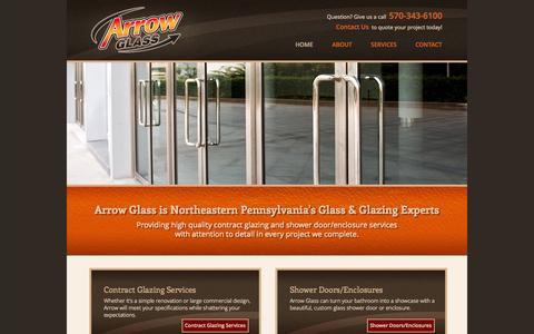 Screenshot of Home Page arrow-glass.com - Commercial Glazing and Shower Doors Northeast, PA (Wilkes-Barre, Scranton) - Arrow Glass - captured Jan. 28, 2015