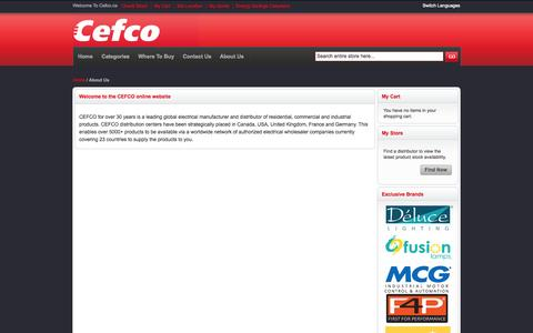 Screenshot of About Page cefco.ca - About Us - captured Oct. 2, 2014