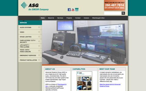 Screenshot of Home Page advsysgrp.com - Advanced Systems Group (ASG) :: Home - captured Nov. 19, 2016