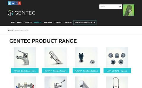 Screenshot of Products Page gentecaustralia.com.au - Gentec Product Range Archives - Gentec Australia - captured Nov. 5, 2016